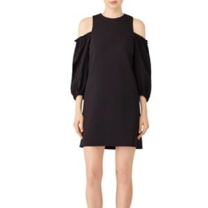 Tibi Structured shift dress black ruffle sleeve 6